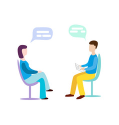 Woman talking to psychotherapist or psychologist vector