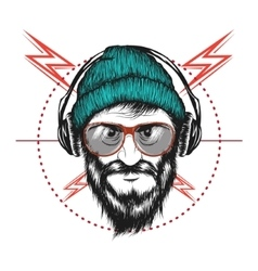 bearded man listening a music in headphones vector image