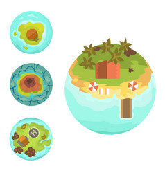 cartoon tropical exotic island in ocean top view vector image