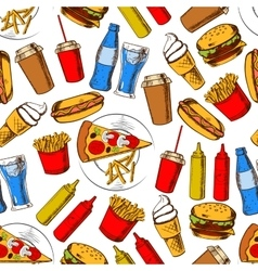 Fast food dinner with drinks seamless pattern vector image