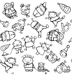 seamless pattern of fun kids vector image vector image