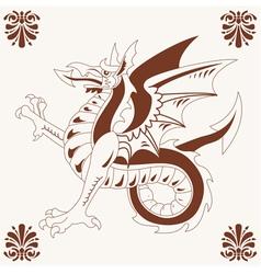 vintage medieval dragon vector image vector image