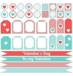 Printable set of saint valentine party elements vector image vector image