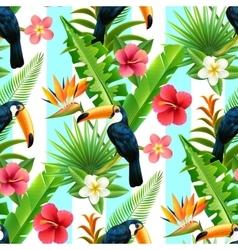 Rainforest Toucan Flat Seamless Pattern vector image