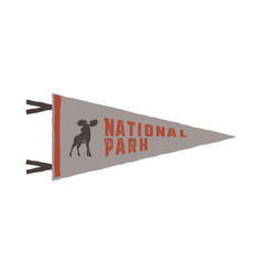 vintage hand drawn pennant template camping sign vector image vector image
