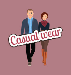 couple in spring casual wear clothes vector image