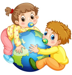 Toddlers boy and girl hugging the earth vector image vector image