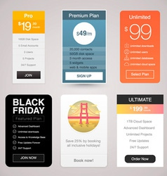 Six Pricing Tables for Web vector image