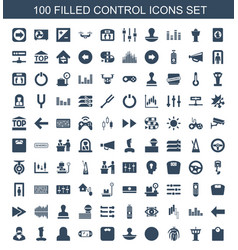 100 control icons vector