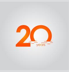 20 years anniversary celebration sunset orange vector