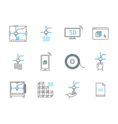 3d printing thin line icons set vector image
