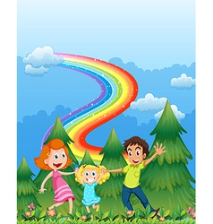 A happy family near the pine trees with a rainbow vector image