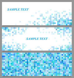 Abstract pixel square mosaic banner template set vector