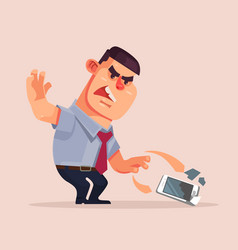 angry unhappy businessman character vector image