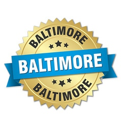 Baltimore round golden badge with blue ribbon vector
