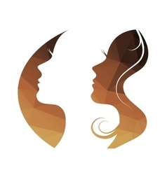 Beautiful women and girl silhouettes vector