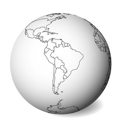 blank political map of south america 3d earth vector image