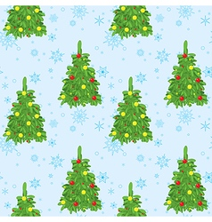 Blue background with christmas trees snowflakes vector