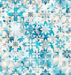 blue snow flowers seamless pattern vector image
