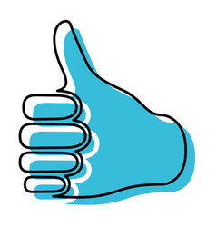 blue watercolor silhouette of right hand thumb up vector image