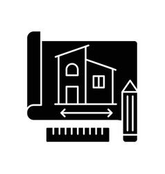 Building plan black glyph icon vector