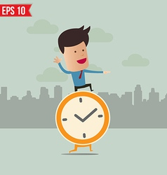 Business man stand on the clock - - EPS10 vector