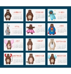 Calendar 2016 with funny cartoon hipster bears vector image