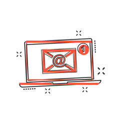 cartoon email envelope message on laptop icon in vector image