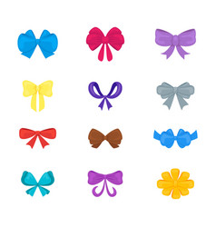 cartoon gift bows icon set vector image