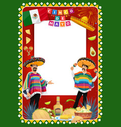 cinco de mayo mariachi characters with signboard vector image