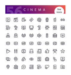 cinema line icons set vector image