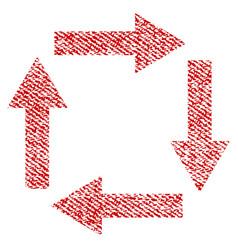 circulation arrows fabric textured icon vector image