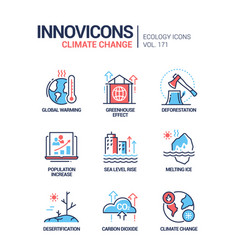 Climate change - modern line design style icons vector