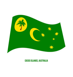 Cocos islands cc flag waving on white background vector