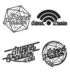 color vintage internet provider emblems vector image