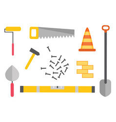 construction equipment kit workman hammer vector image