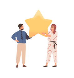 couple customers giving feedback and review vector image