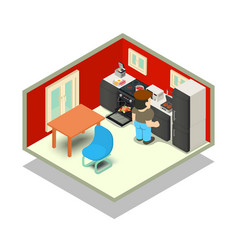 Cuisine concept banner isometric style vector