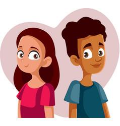 Cute teenagers falling in love cartoon vector