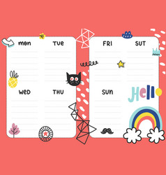 Daily planner template vector