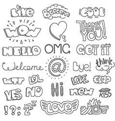 Different sketch style words collection doodles vector