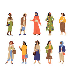 different stylish women casual style woman vector image