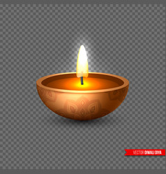 diwali diya - oil lamp element for traditional vector image