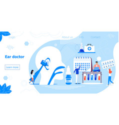 Ear doctor web template for landing page vector