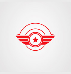 emblem star wings logotype on the white background vector image