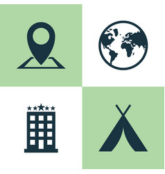 Exploration icons set collection building vector