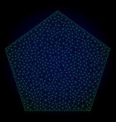 filled pentagon polygonal frame mesh vector image