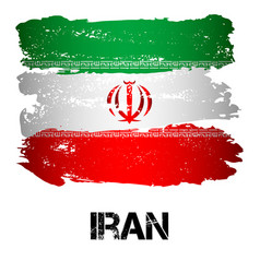 Flag of iran from brush strokes vector
