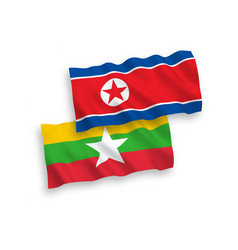 flags north korea and myanmar on a white vector image