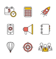 Flat set of modern icons and symbols on vector image